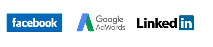 Digital marketing advertising partners. Facebook, Google Adwords and Linkedin